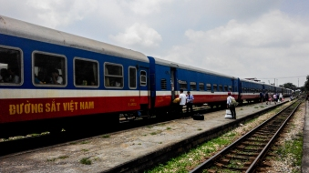 getting off the train at Ninh Binh